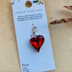Swarovski Crystal Red Heart Charm Pendant Necklace